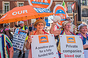 Supporters from Bristol - #OurNHS70: free, for all, forever a protest and celebration march in honour of the 70 year history of the National Health Service. Organised by: The People's Assembly, Trades Union Congress, Unison, Unite, GMB, British Medical Association, Royal College of Nursing, Royal College of Midwives amongst others.