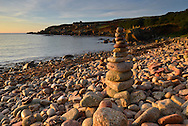 Pebble stack on the beach near Old Town Bay, St Mary's, Isles of Scilly, UK
