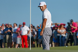 May 12, 2019 - Dallas, TX, U.S. - DALLAS, TX - MAY 12: Sung Kang looks back at the flag on #18 during the final round of the AT&T Byron Nelson on May 12, 2019 at Trinity Forest Golf Club in Dallas, TX. (Photo by Andrew Dieb/Icon Sportswire) (Credit Image: © Andrew Dieb/Icon SMI via ZUMA Press)
