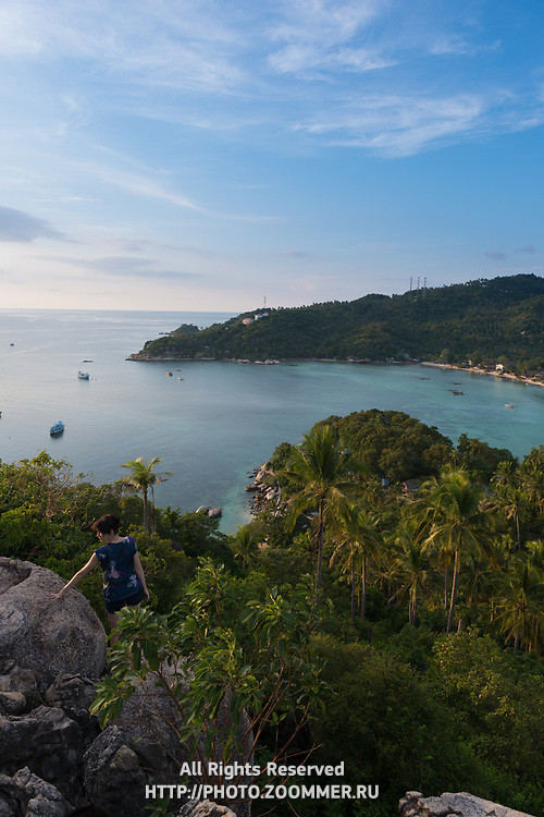Ko Tao island view from the high rocky hill