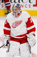 05 April 2014: Goaltender Jimmy Howard 35 of the Detroit Red Wings skates during the warmup period prior to the NHL Eishockey Herren USA match against the Montreal Canadiens at the Bell Centre in Montreal Quebec, Canada. The Canadiens defeat the Red Wings 5-3. NHL Eishockey Herren USA APR 05 Red Wings at Canadiens <br />