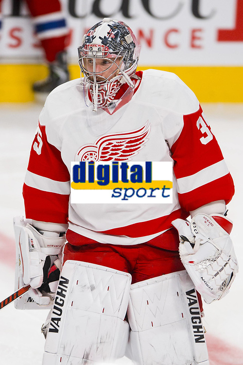 05 April 2014: Goaltender Jimmy Howard 35 of the Detroit Red Wings skates during the warmup period prior to the NHL Eishockey Herren USA match against the Montreal Canadiens at the Bell Centre in Montreal Quebec, Canada. The Canadiens defeat the Red Wings 5-3. NHL Eishockey Herren USA APR 05 Red Wings at Canadiens <br /> Norway only