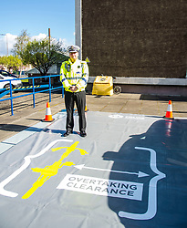 Pictured: Chief Superintendent Andy Edmonston of the Road Policing Division dropped by to check things were going smoothly.<br /> <br /> A new policing initiative to promote cycle safety was launched in Edinburgh today. The operation saw drivers pulled over for passing too close to an unmarked police cyclist or any other vehicle.<br /> Ger Harley | EEm 24 April 2017
