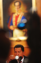 President Hugo Chavez holds a press conference for the foreign and local press.  Chavez typically doesn't invite the local, opposition alligned, press to his conferences.  He discussed a just concluded petition drive seeking to oust opposition legislators as well as an upcoming opposstion petition drive seeking to oust the President.