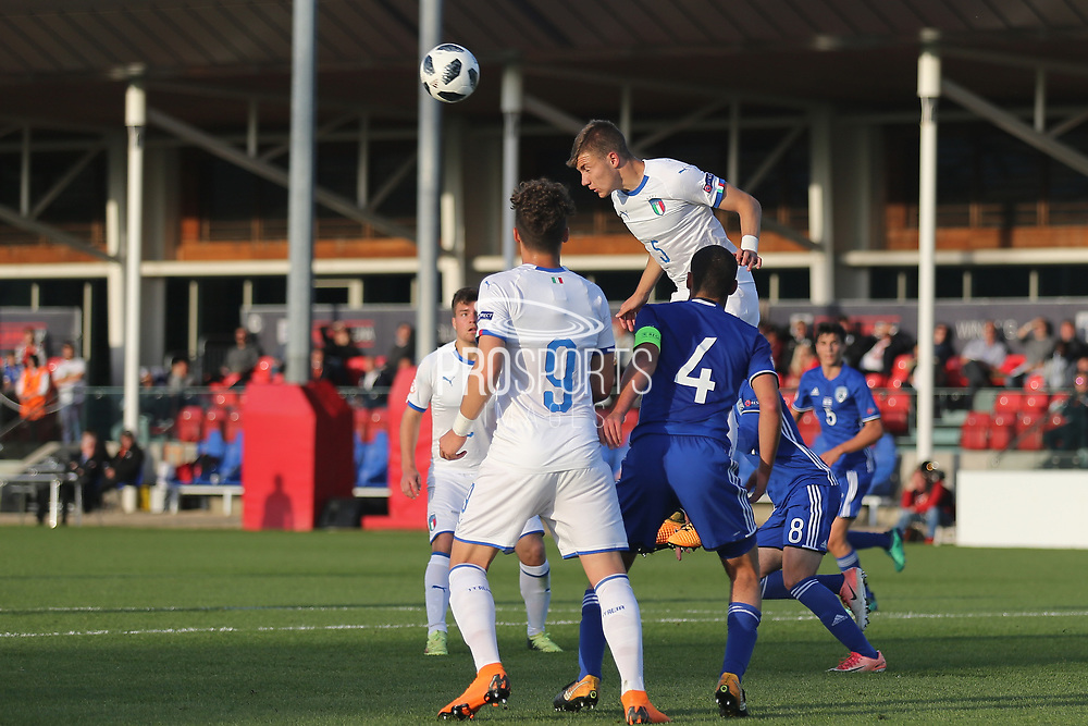 Nicolo Armini of Italy (5) heads clear during the UEFA European Under 17 Championship 2018 match between Israel and Italy at St George's Park National Football Centre, Burton-Upon-Trent, United Kingdom on 10 May 2018. Picture by Mick Haynes.