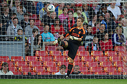 LIVERPOOL, ENGLAND - Wednesday, August 17, 2011: Liverpool's goalkeeper Tyrell Belford looks dejected as Sporting Clube de Portugal score the second goal during the first NextGen Series Group 2 match at Anfield. (Pic by David Rawcliffe/Propaganda)