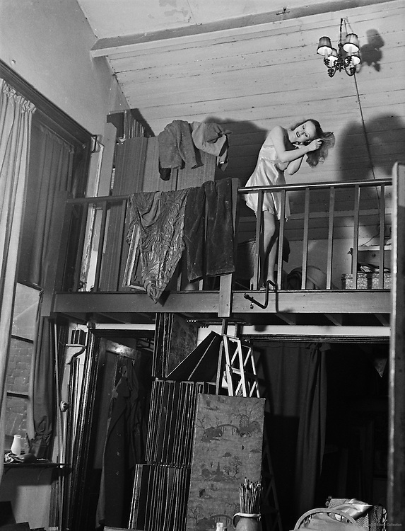 "Eileen Hawthorne in Stanley Grimm's Studio, ""Bohemia"" Series, London, England, 1935"