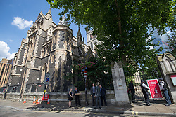 © Licensed to London News Pictures. 03/06/2018. London, UK. General view of Southwark Cathederal where a service of commemoration is taking place to mark one year since the London Bridge and Borough Market terror attacks. A series of events have taken place throughout the day, including a service of commemoration at Southwark Cathedral, the planting of an olive tree in the Cathedral grounds, a minute's silence at 4:30pm and the laying of flowers.  Photo credit : Tom Nicholson/LNP