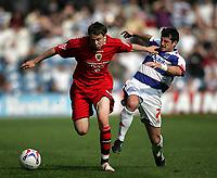 Photo: Lee Earle.<br /> Queens Park Rangers v Cardiff City. Coca Cola Championship. 21/04/2007.QPR's Adam Bolder (R) tackles Chris Gunter.