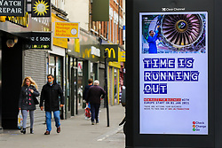 © Licensed to London News Pictures. 10/11/2020. London, UK. The Government's publicity campaign digital poster entitled 'Time Is Running Out' in north London for firms that trade with Europe to prepare for a no-deal Brexit. HMRC will contact over 200,000 firms that trade with the EU to set out the new customs and tax rules and how to deal with them. Photo credit: Dinendra Haria/LNP