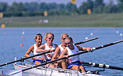 Munich, GERMANY  GBR W4-,  .bow Sue WALKER, Alex BEEVER, Sarah WINCKLESS Sarah. and Lisa EYRE, 1998 FISA World Cup, Munich Olympic Rowing Course, 29-31 May 1998.  [Mandatory Credit, Peter Spurrier/Intersport-images] 1998 FISA World Cup, Munich, GERMANY