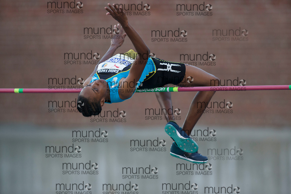 Toronto, ON -- 10 August 2018: Levern Spencer (Saint Lucia), high jump at the 2018 North America, Central America, and Caribbean Athletics Association (NACAC) Track and Field Championships held at Varsity Stadium, Toronto, Canada. (Photo by Sean Burges / Mundo Sport Images).