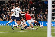 Ashleigh Neville tackles Danielle Van De Donk during the FA Women's Super League match between Tottenham Hotspur Women and Arsenal Women FC at Tottenham Hotspur Stadium, London, United Kingdom on 17 November 2019.