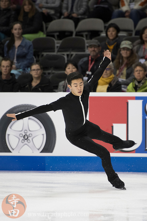 January 4, 2018; San Jose, CA, USA; Nathan Chen performs in the mens short program during the 2018 U.S. Figure Skating Championships at SAP Center.