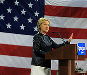 Hillary Clinton makes a point during her pro-labor speech at the carpenter's training center in Affton.