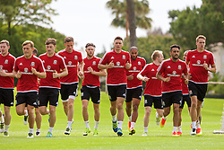 VALE DO LOBO, PORTUGAL - Thursday, May 26, 2016: Wale players training during day three of the pre-UEFA Euro 2016 training camp at the Vale Do Lobo resort in Portugal. George Williams, Ben Davies, Andy King, Wes Burns, James Chester, captain Ashley Williams, Neil Taylor, David Edwards. (Pic by David Rawcliffe/Propaganda)