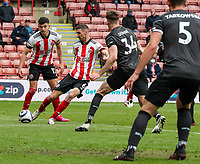 Sheffield United's Chris Basham hits the post with this drive<br /> <br /> Photographer Alex Dodd/CameraSport<br /> <br /> The Premier League - Sheffield United v Burnley - Sunday 23rd May 2021 - Bramall Lane - Sheffield<br /> <br /> World Copyright © 2021 CameraSport. All rights reserved. 43 Linden Ave. Countesthorpe. Leicester. England. LE8 5PG - Tel: +44 (0) 116 277 4147 - admin@camerasport.com - www.camerasport.com