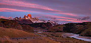 "Sunrise illuminates Cerro Fitz Roy (3405 meters or 11,171 feet elevation), as seen from Mirador al Chaltén on Ruta 23 just 2 km southeast of the village of El Chalten in Santa Cruz Province, Argentina, Patagonia, South America. Monte Fitz Roy is also known as Cerro Chaltén, Cerro Fitz Roy, or Mount Fitz Roy. The first Europeans recorded as seeing Mount Fitz Roy were the Spanish explorer Antonio de Viedma and his companions, who in 1783 reached the shores of Viedma Lake. In 1877, Argentine explorer Francisco Moreno saw the mountain and named it Fitz Roy in honour of Robert FitzRoy who, as captain of HMS Beagle, had travelled up the Santa Cruz River in 1834 and charted large parts of the Patagonian coast. Mt Fitz Roy was first climbed in 1952. Cerro is a Spanish word meaning hill, while Chaltén comes from a Tehuelche word meaning ""smoking mountain"", due to clouds that usually form around the peak. This image was stitched from multiple overlapping photos."