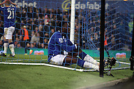 Romelu Lukaku of Everton ends up in the net after missing a chance to score. Capital one cup semi final 1st leg match, Everton v Manchester city at Goodison Park in Liverpool on Wednesday 6th January 2016.<br /> pic by Chris Stading, Andrew Orchard sports photography.
