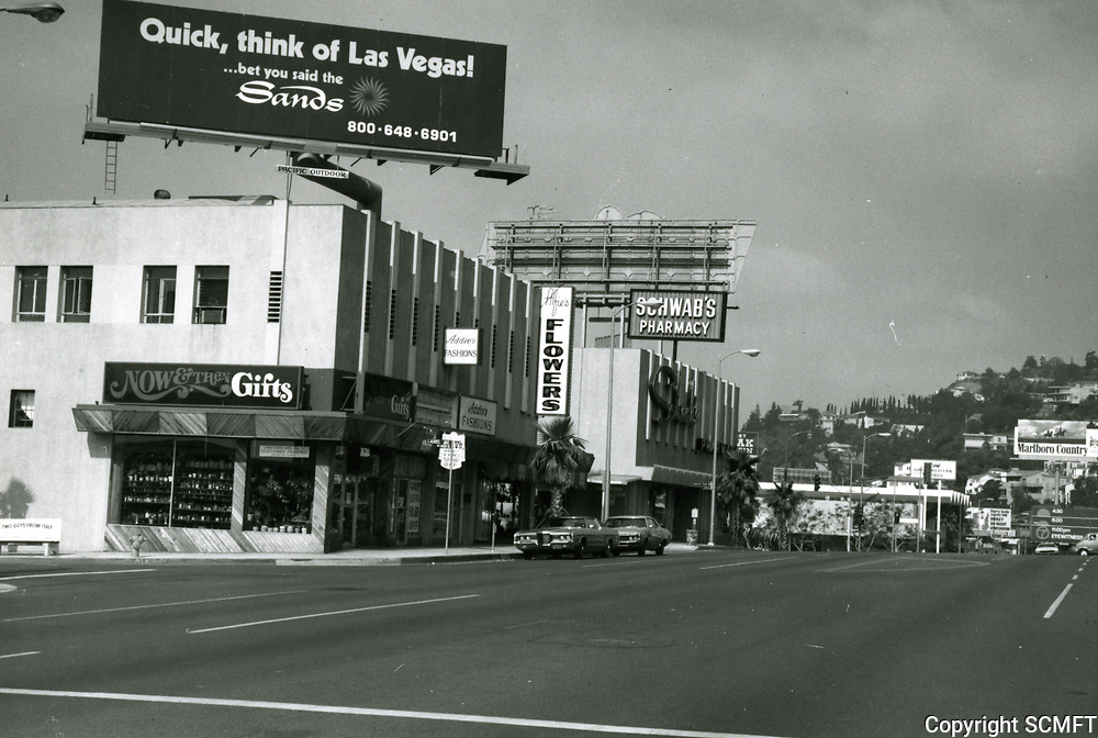 1973 Looking west on Sunset Blvd towards Crescent Heights Blvd. in West Hollywood