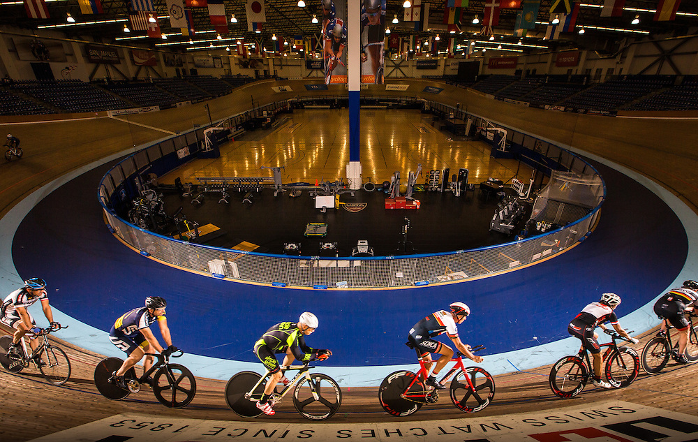 Cyclists train at the Velodrome at StubHub Center on November 6, 2015.<br /> <br /> Photo by Marty McCrory / SportsShooter Academy
