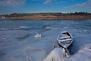 A boat on the frozen river Slaney, Wexford, Christmas Day, 2010