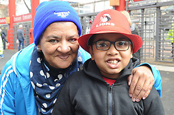 14-07-18 Johannesburg. Emirates Airlines Park. Emirates Lions vs Vodacom Blue Bulls.<br /> Granny and grandson support opposing teams. Ivona and Neith Narian from Lenasia<br /> Picture: Karen Sandison/African News Agency (ANA)