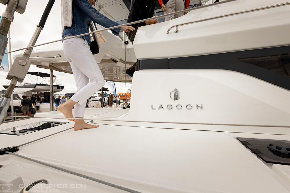 Lagoon yachts at the Southampton International Boat Show.<br /> Shot for Ancasta International.<br /> Picture date: Friday September 10, 2021.<br /> Photograph by Christopher Ison ©<br /> 07544044177<br /> chris@christopherison.com<br /> www.christopherison.com<br /> <br /> IMPORTANT NOTE REGARDING IMAGE LICENCING FOR THIS PHOTOGRAPH: This image is supplied to the client under the terms previously agree. No sales are permitted unless expressly agreed in writing by the photographer.