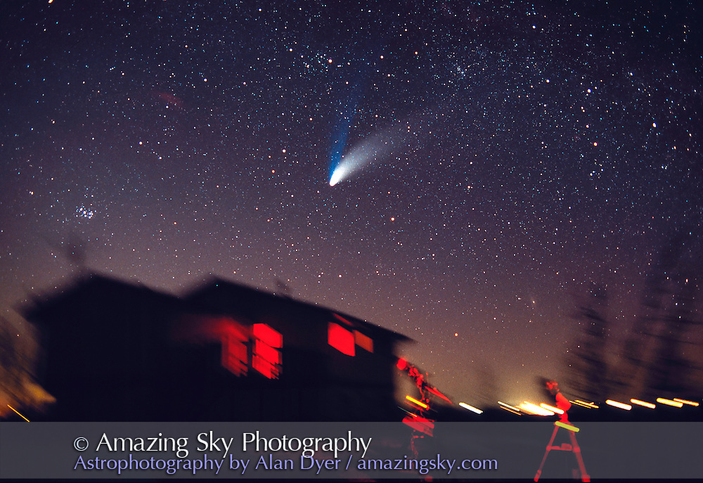 Comet Hale-Bopp<br /> from home in Alberta, with telescopes<br /> April 6, 1997<br /> 28mm lens, tracked, so lights are trailed<br /> Ektachrome 400 Elite II slide film<br /> about 5 minute exposure