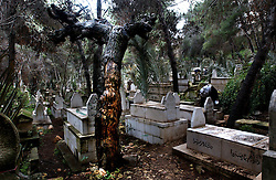 NABLUS, WEST BANK, FEB. 9 2003: A Palestinian visits  a grave of his relative on the eve of the Muslim holiday of Eid al-Adha (Feast of Sacrifice) in the West Bank city of Nablus,  February 10, 2003. <br />(Ami Vitale/Getty Images)