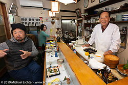 An amazing dinner was prepared by 82 year old Harley-Davidson Ultra riding chef Ryutaro Nakamura at Tenryu Restaurant in Konan City, Shiga on a night out with Cuatom Works Zon. No menu - just each course prepared one at a time before as the chef saw fit. Wednesday, December 5, 2018. Photography ©2018 Michael Lichter.