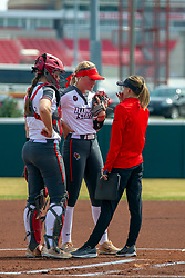 NORMAL, IL - April 06: Brittni LaFountaine, Morgan Day during a college women's softball game between the ISU Redbirds and the University of Northern Iowa Panthers on April 06 2019 at Marian Kneer Field in Normal, IL. (Photo by Alan Look)