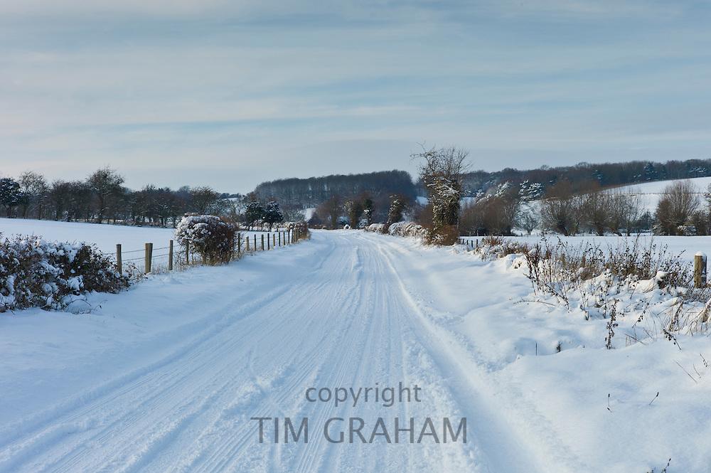 Snowy landscape in Swinbrook in The Cotswolds, UK