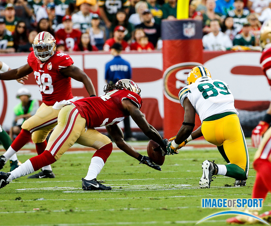 Aug 26, 2016, Santa Clara, CA, USA; San Francisco 49ers linebacker Ray-Ray Armstrong (54) breaks up a pass intended for Green Bay Packers tight end Jared Cook (89) in a preseason NFL game at Levi's Stadium. Green Bay beat San Francisco 21-10.