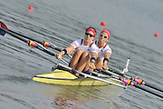Poznan, POLAND, USA W2X Bow Megan KALMOE and Ellen TOMEK move away from the start pontoon in their semi final of the Double sculls, on the sixth day of the  2009 FISA World Rowing Championships. held on the Malta Rowing lake, Thursday  27/08/2009  [Mandatory Credit. Peter Spurrier/Intersport Images]
