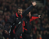 Photo: Javier Garcia/Back Page Images<br />Southampton v Middlesboro, FA Barclays Premiership, St Mary's Stadium 11/12/04<br />Kevin Bond, left and Harry Redknapp become animated as Southampton let victory slip from their grasp