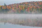 Vibrant fall color reflects onto the foggy waters of Franklin Falls Pond, located in the Adirondacks of New York.