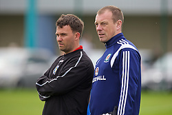 NEWPORT, WALES - Wednesday, May 27, 2015: South WPL Academy Boys' head coach Gareth Evans and Richard Williams during the Welsh Football Trust Cymru Cup 2015 at Dragon Park. (Pic by David Rawcliffe/Propaganda)