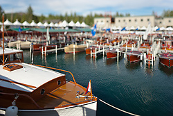 """""""Toy Boats at the Concours d'Elegance 3"""" - Photograph of classic wooden boats from the 2011 Tahoe Concours d'Elegance.  The toy boat effect was achieved using a tilt-shift lens."""