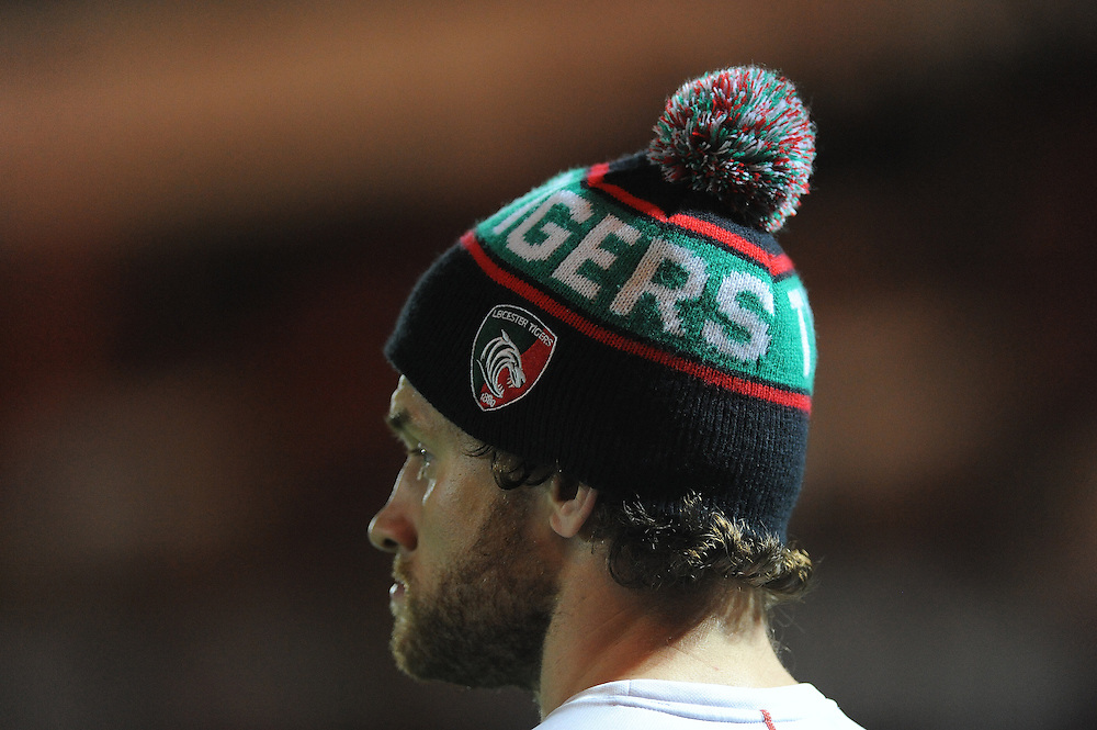 Leicester Tigers offical bobble hat <br /> <br /> Photographer Ashley Crowden/CameraSport<br /> <br /> Rugby Union - European Rugby Champions Cup - Pool 3 - Scarlets v Leicester Tigers - Saturday 25th October 2014 - Parc y Scarlets - Llanelli, Wales<br /> <br /> © CameraSport - 43 Linden Ave. Countesthorpe. Leicester. England. LE8 5PG - Tel: +44 (0) 116 277 4147 - admin@camerasport.com - www.camerasport.com