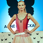 Agne Kuzmickaite exhibition is latest collection at Fashion Scout - SS19 at Freemasons Hall, London, UK. 14 September 2018.