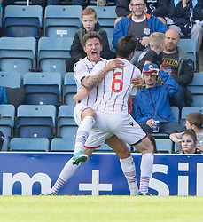 Ross County's Christopher Routis cele scoring their second goal. Dundee 1 v 2 Ross County, Scottish Premiership game played 5/8/2017 at Dundee's home ground Dens Park.