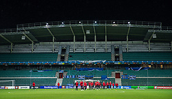 TALLINN, ESTONIA - Monday, October 11, 2021: Wales players on the pitch before the FIFA World Cup Qatar 2022 Qualifying Group E match between Estonia and Wales at the A. Le Coq Arena. Wales won 1-0. (Pic by David Rawcliffe/Propaganda)