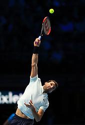 Grigor Dimitrov in action during day seven of the NITTO ATP World Tour Finals at the O2 Arena, London.