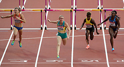 Australia's Sally Pearson (centre) wins heat 1 of the Women's 100m hurdles semi final during day eight of the 2017 IAAF World Championships at the London Stadium.