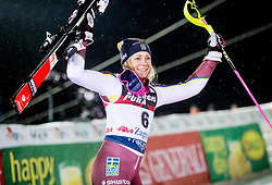 "Third placed Frida Hansdotter (SWE) celebrates at Trophy ceremony after 2nd Run of FIS Alpine Ski World Cup 2017/18 Ladies' Slalom race named ""Snow Queen Trophy 2018"", on January 3, 2018 in Course Crveni Spust at Sljeme hill, Zagreb, Croatia. Photo by Vid Ponikvar / Sportida"