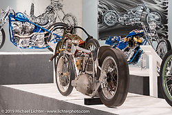 The Arkansas Traveler, a Harley-Davidson K Model drag bike built and piloted by Sam Satterley (aka Slidin' Sammy) in the 1960's that was found and put back together again by custom bike builder Dan Rognsvoog. On view in the What's the Skinny Exhibition (2019 iteration of the Motorcycles as Art annual series) at the Sturgis Buffalo Chip during the Sturgis Black Hills Motorcycle Rally. SD, USA. Friday, August 9, 2019. Photography ©2019 Michael Lichter.