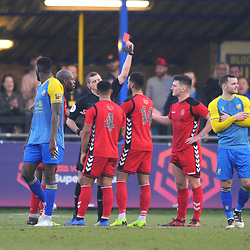 TELFORD COPYRIGHT MIKE SHERIDAN 23/2/2019 - RED CARD. Brendon Daniels is sent off in stoppage time during the FA Trophy quarter final fixture between Solihull Moors and AFC Telford United at the Automated Technology Group Stadium