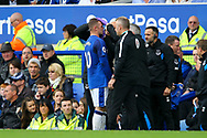 Wayne Rooney of Everton receives treatment on the touchline. Premier league match, Everton vs Bournemouth at Goodison Park in Liverpool, Merseyside on Saturday 23rd September 2017.<br /> pic by Chris Stading, Andrew Orchard sports photography.