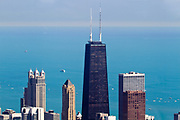 Aerial view of Chicago IL The John Hancock building as seen from the Willis tower (formerly Sears tower) observation deck.